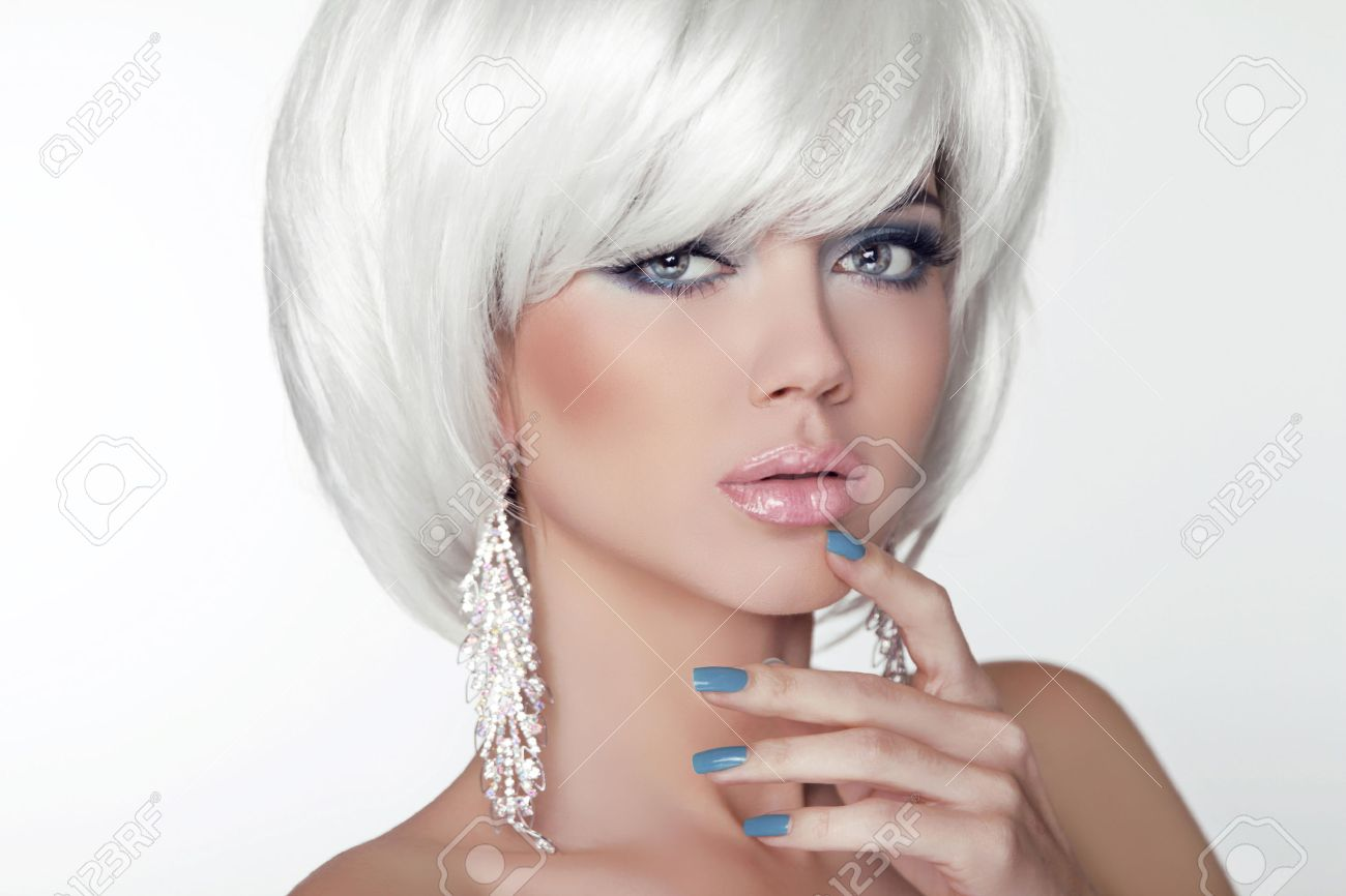 Fashion Beauty Girl Portrait With White Short Hair Jewelry Haircut