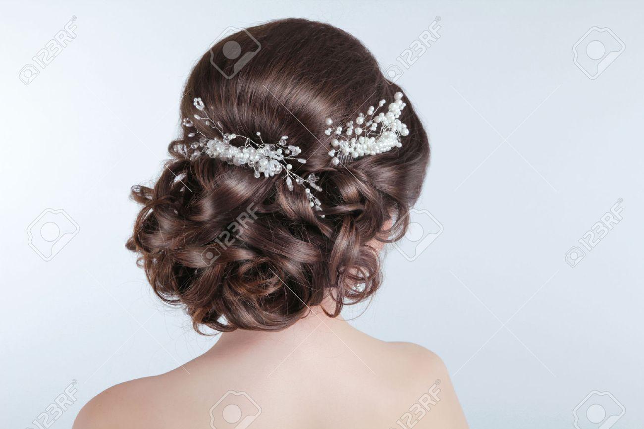 Schonheit Hochzeit Frisur Braut Brunette Madchen Mit Lockigen Haar