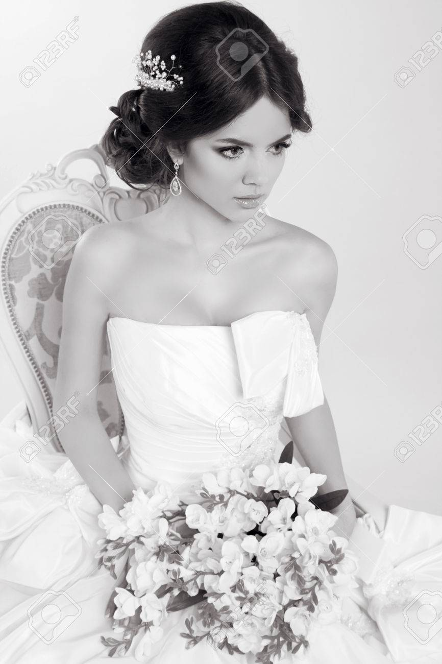 Bride. Beautiful Girl Wearing In Modern Wedding Dress. Fashion ...