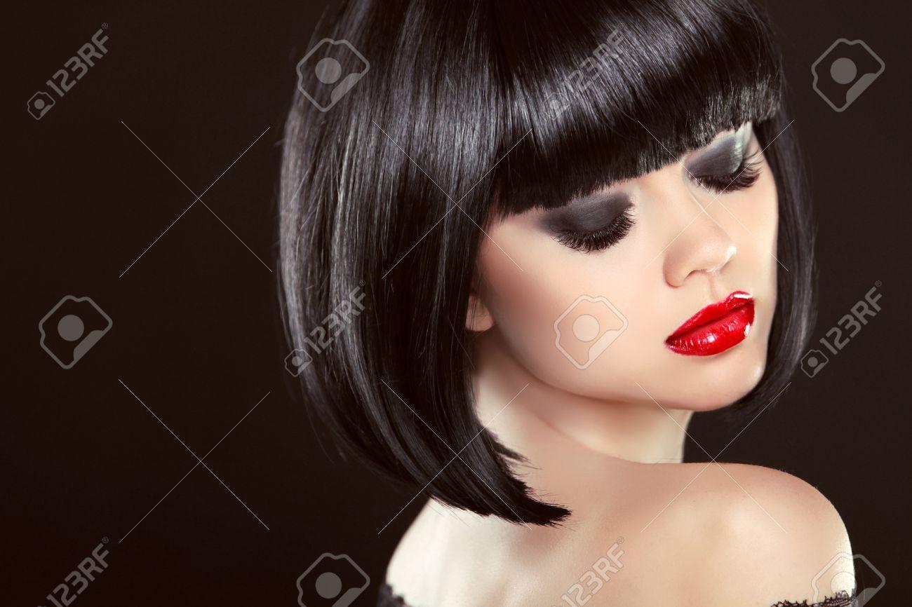 Smoky Eyes Makeup Closeup Black Bob Hairstyle Sexy Red Lips