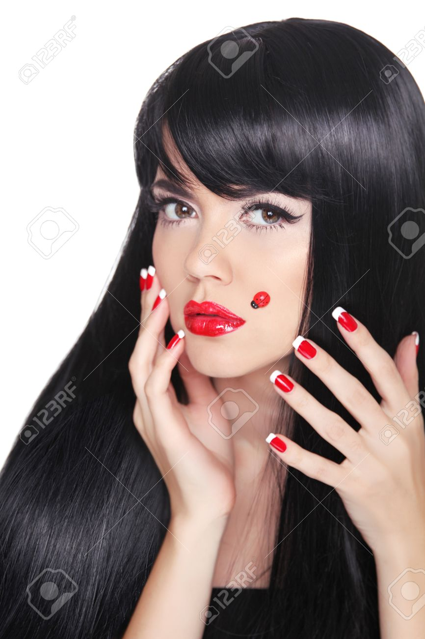 Beautiful Girl With Long Straight Black Hair. Red Lips. Manicured ...