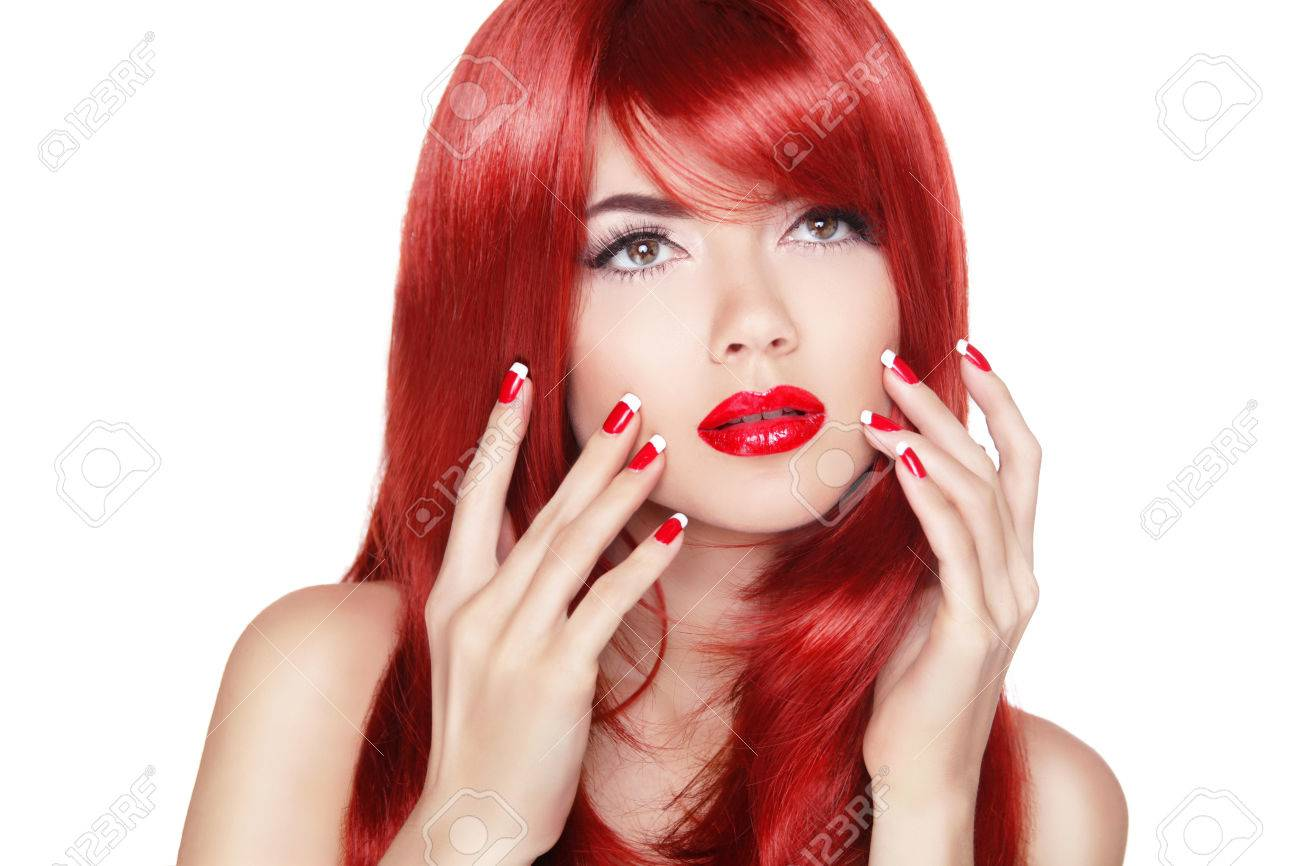 Beautiful Girl With Red Hair. Long Straight Hair Shine With Health ...