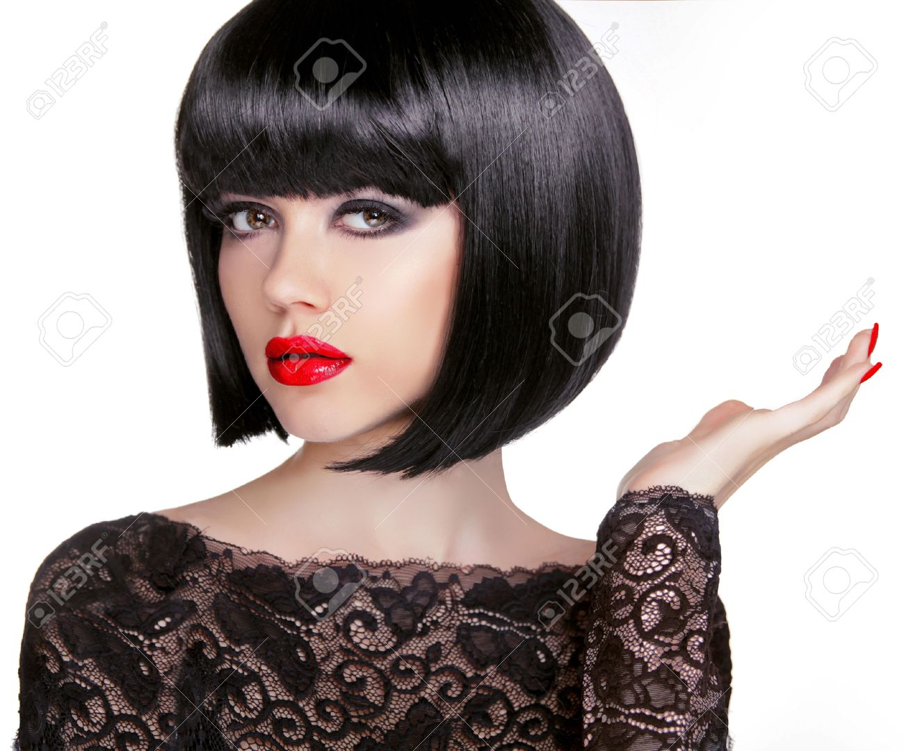 Bob Hairstyle Brunette Fashion Model With Black Short Hair And Red
