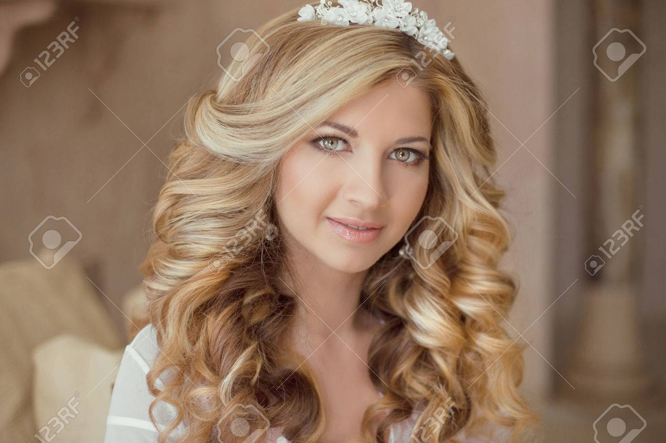 Beauty Portrait Of Attractive Smiling Girl Bride With Long Curly