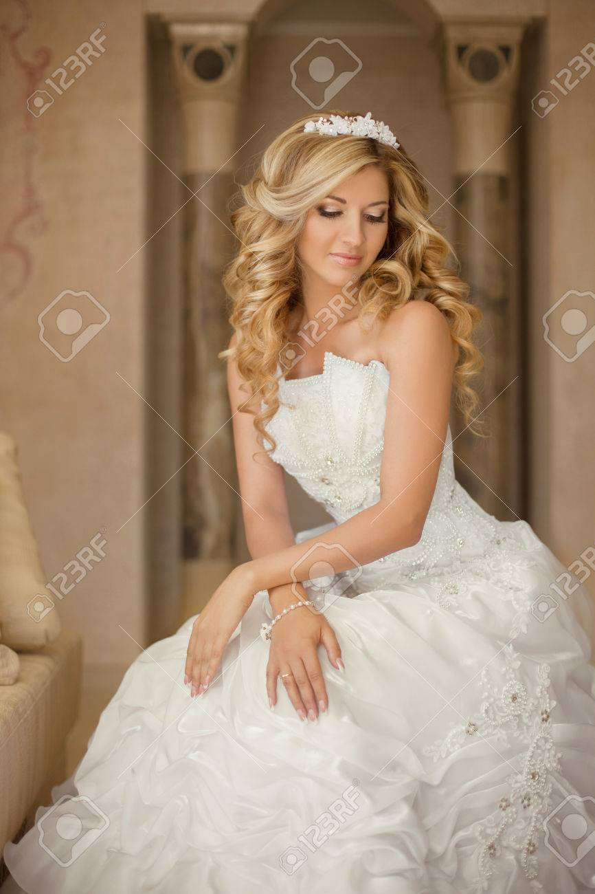 Attractive Young Bride Woman In Wedding Dress Beautiful Girl Stock Photo Picture And Royalty Free Image Image 44335674