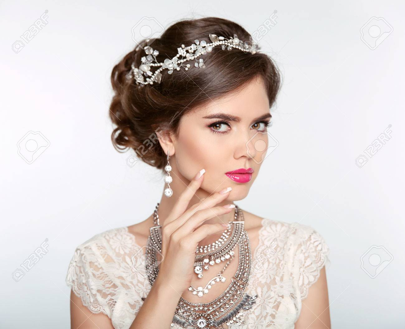 Hairstyle. Attractive Girl With Makeup. Jewelry Earring ...