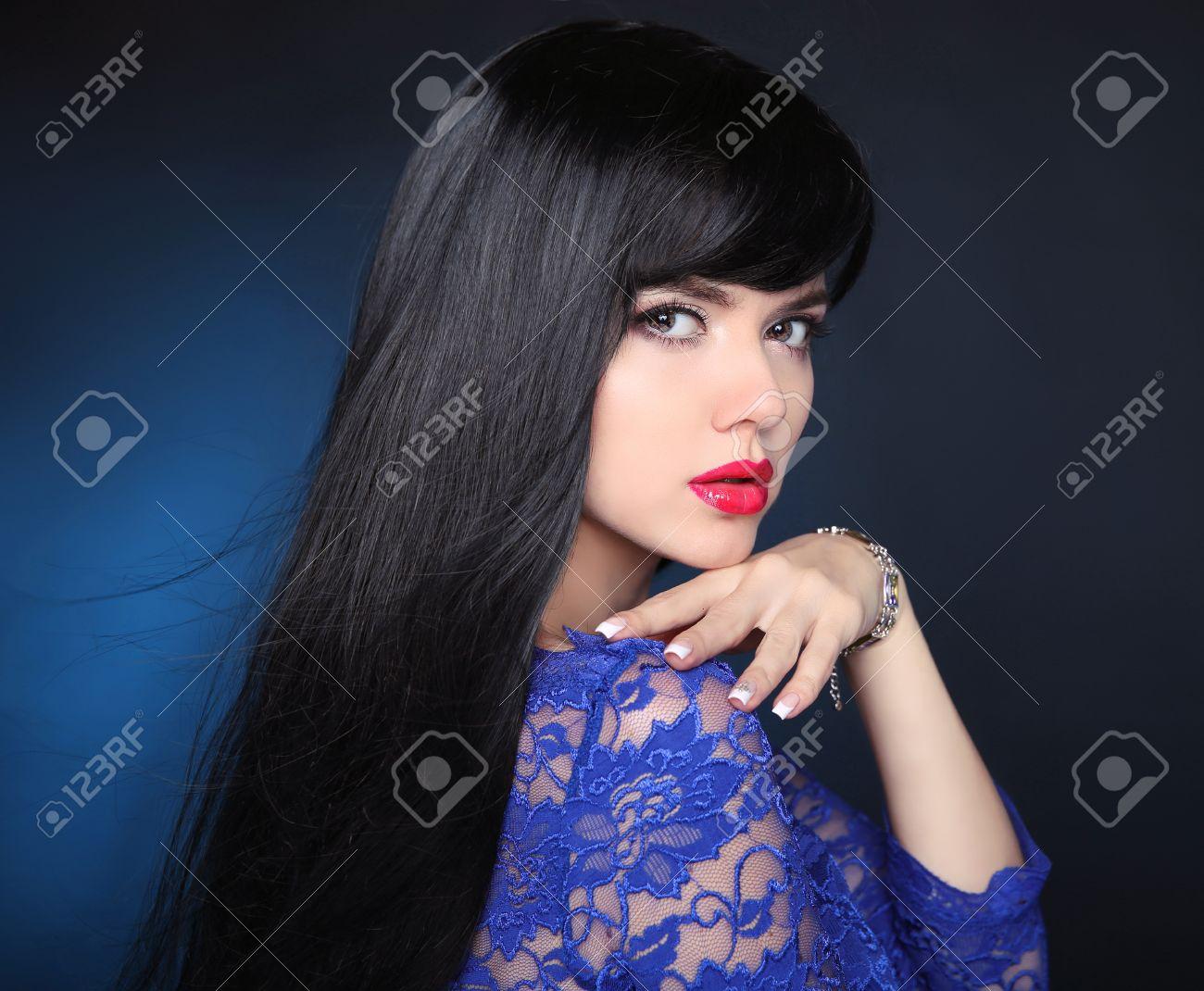 Schönheit Modell Mädchen Mit Schwarzen Haaren Gesund Schöne Frau