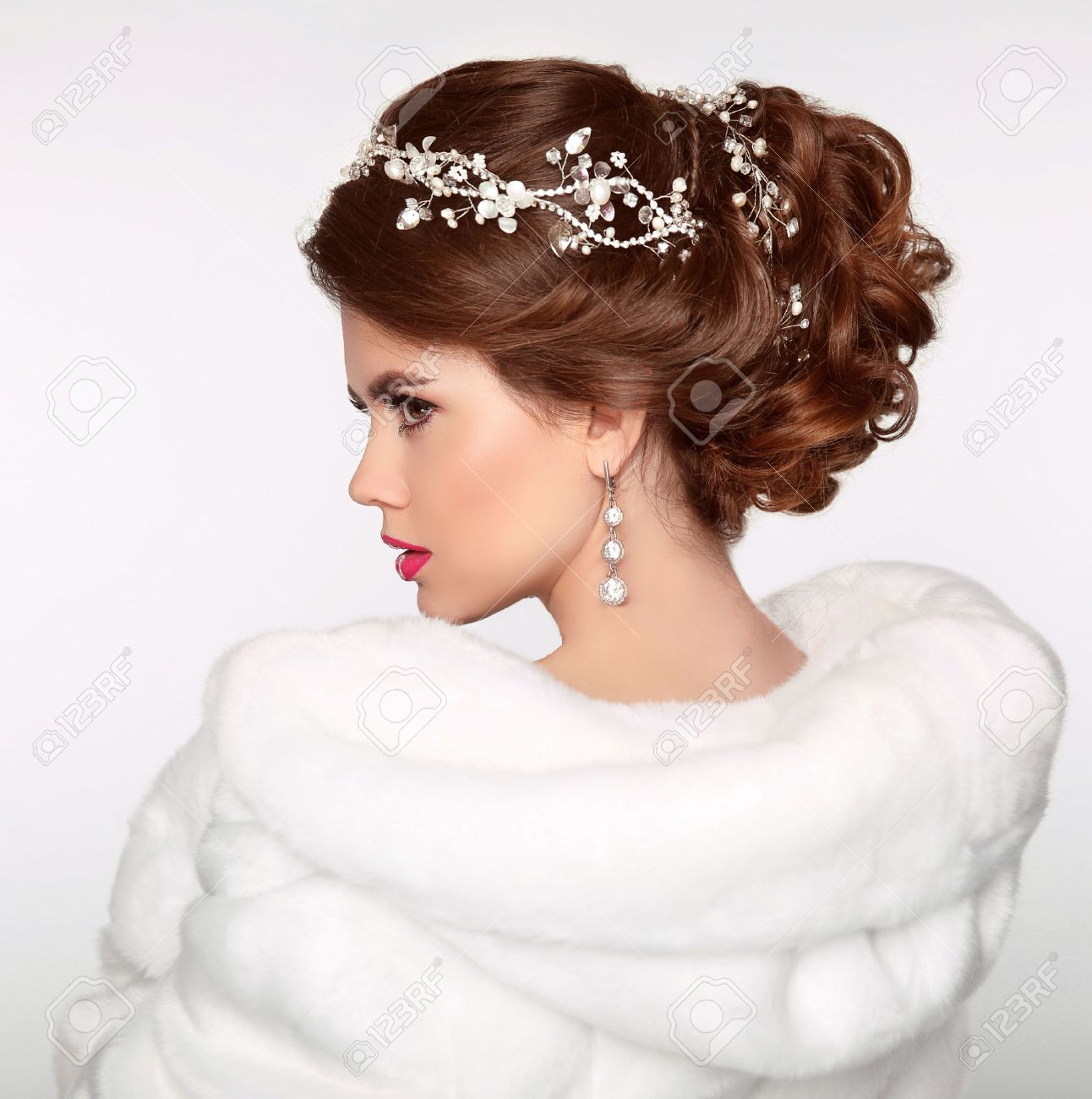Wedding Hairstyle. Attractive Girl In White Fur Coat. Jewelry ...