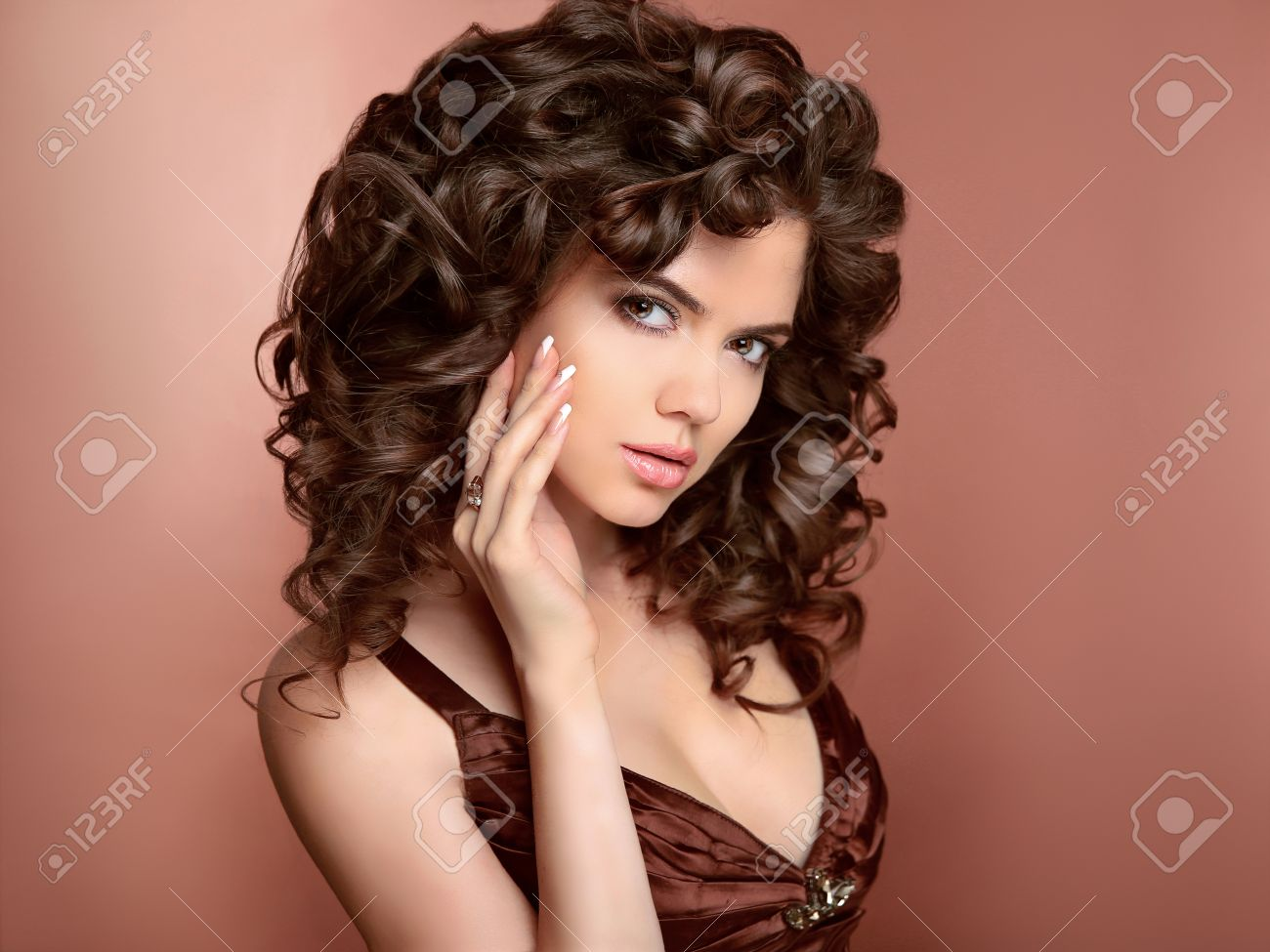 Hairstyle. Beautiful Young Woman With Long Curly Hair, Beauty ...