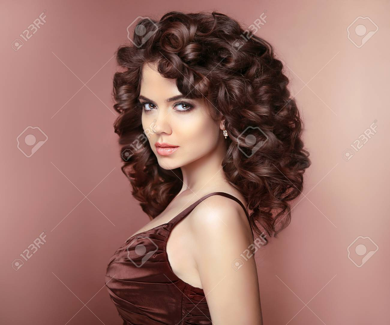 Healthy Hair Beautiful Young Smiling Woman With Long Curly Hairstyle