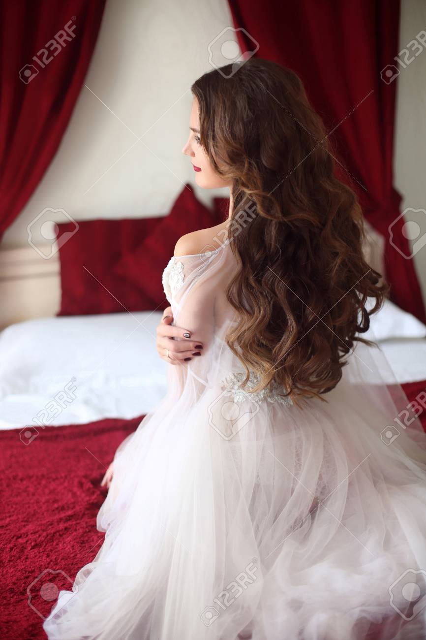 Wedding Hairstyle Beautiful Bride Portrait With Curly Hair Style Stock Photo Picture And Royalty Free Image Image 60844119