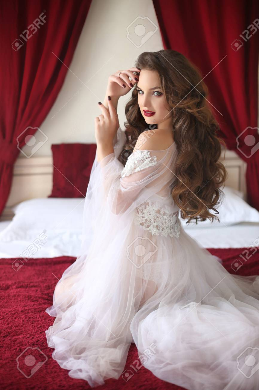 Beautiful Brunette Bride Wedding Portrait With Curly Hair Style