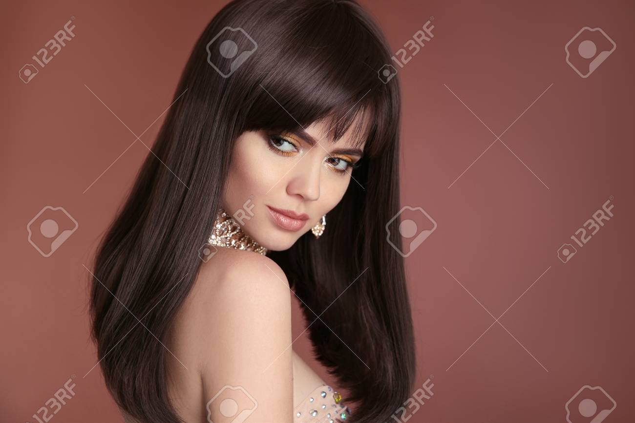 Healthy Long Hairstyle Beautiful Brunette Woman With Brown Hair