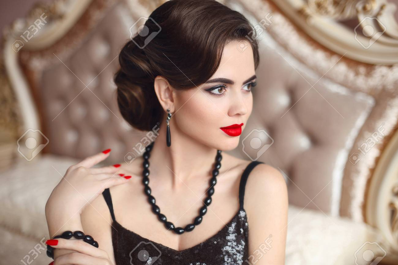 Beautiful Brunette Elegant Woman Portrait Retro Lady With Red