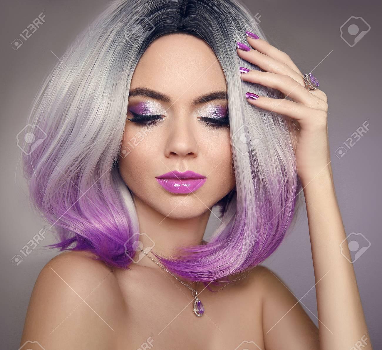 Ombre Bob Hair Coloring Woman Beauty Portrait Of Blond Model