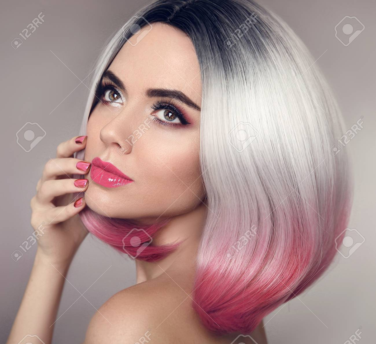 Colored Ombre Bob Hair Extensions Manicure Nails Beauty Makeup