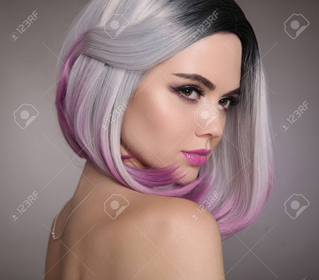 Ombre Bob Short Hairstyle Beautiful Hair Coloring Woman Fashion Stock Photo Picture And Royalty Free Image Image 97353910