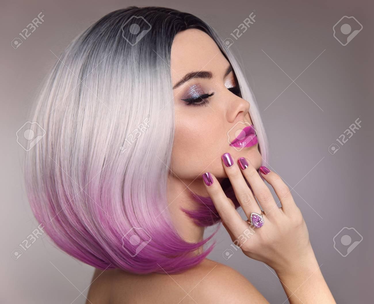 Ombre Bob Hair Woman Glitter Makeup Manicure Nails Beauty Stock