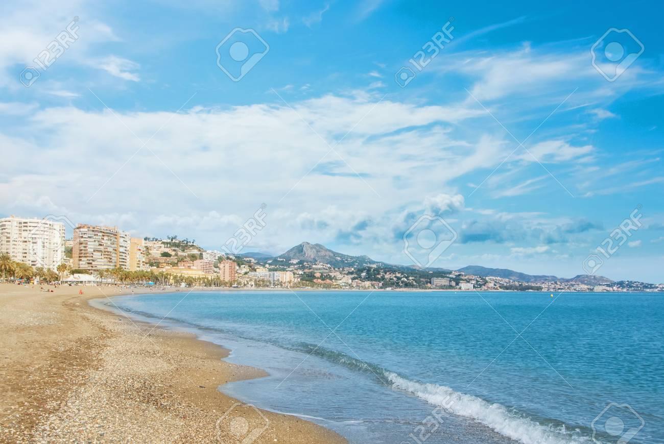 Panoramic Aerial Top View To Malaga City And La Malagueta Beach