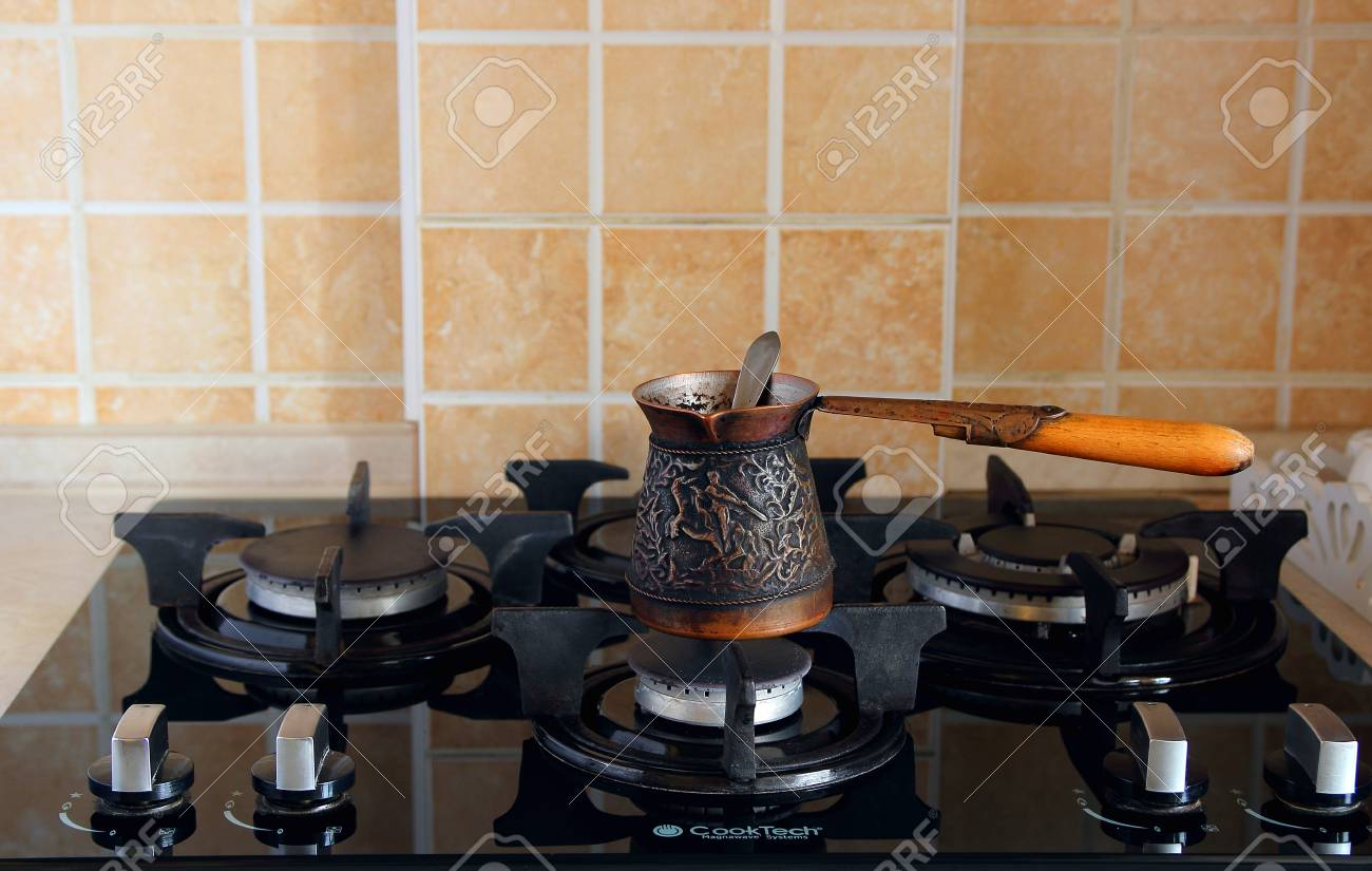 Modern gas cooker on the kitchen bar. stock photo picture and