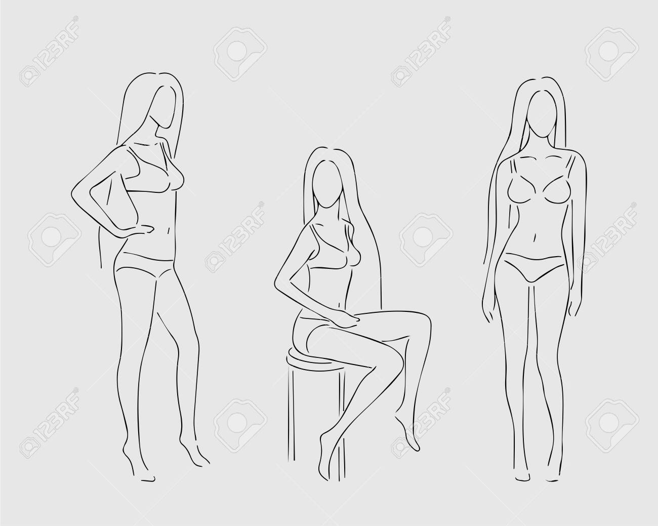 Outline Of Female Body Figure Wearing Underwear In Three Poses Royalty Free Cliparts Vectors And Stock Illustration Image 128972299