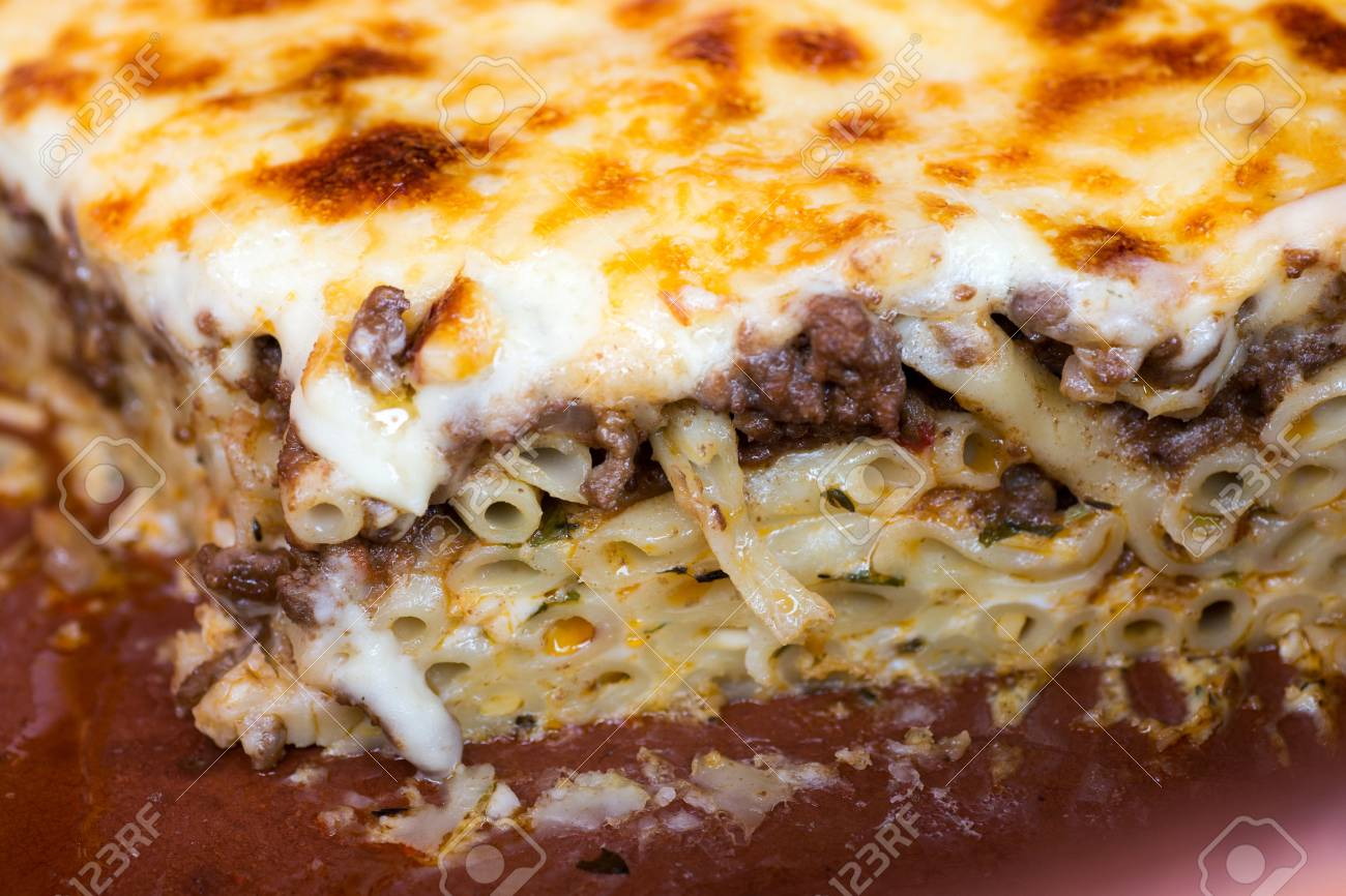 Pastitsio Traditional Greek Baked Pasta Casserole With Ground Stock Photo Picture And Royalty Free Image Image 86029815