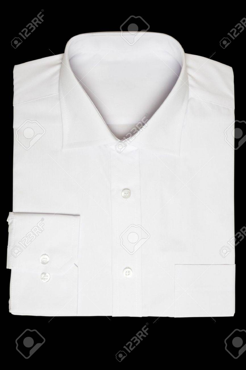 Front View Of New White Shirt On Black Background Stock Photo ...