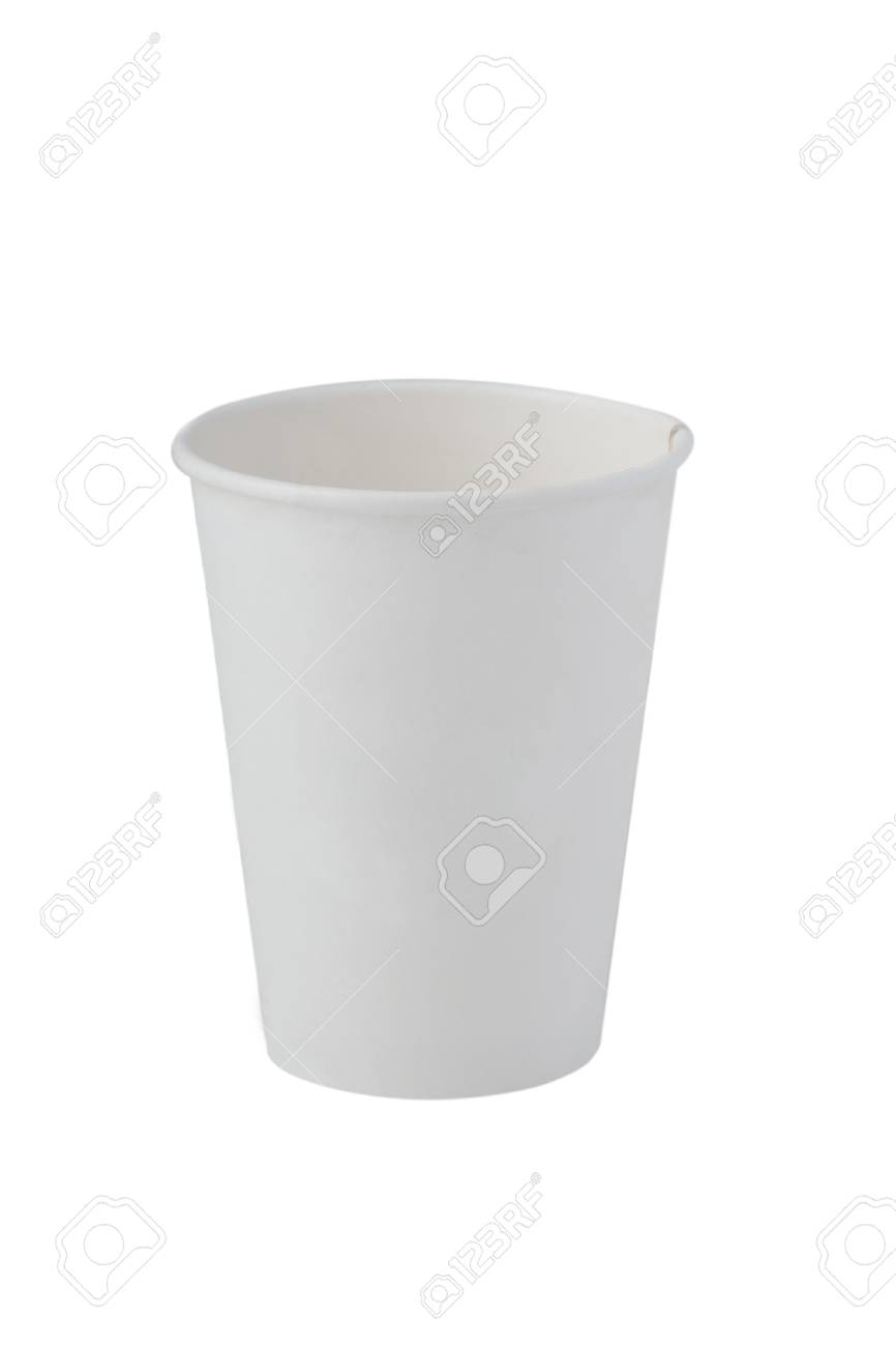 front view of red recycling paper glass on white background Stock Photo - 7154219