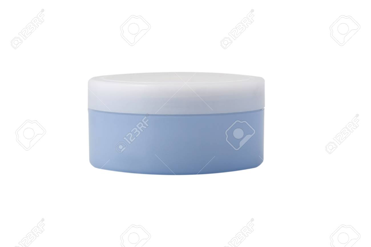 front view of blue cream bottle on white background Stock Photo - 7154225
