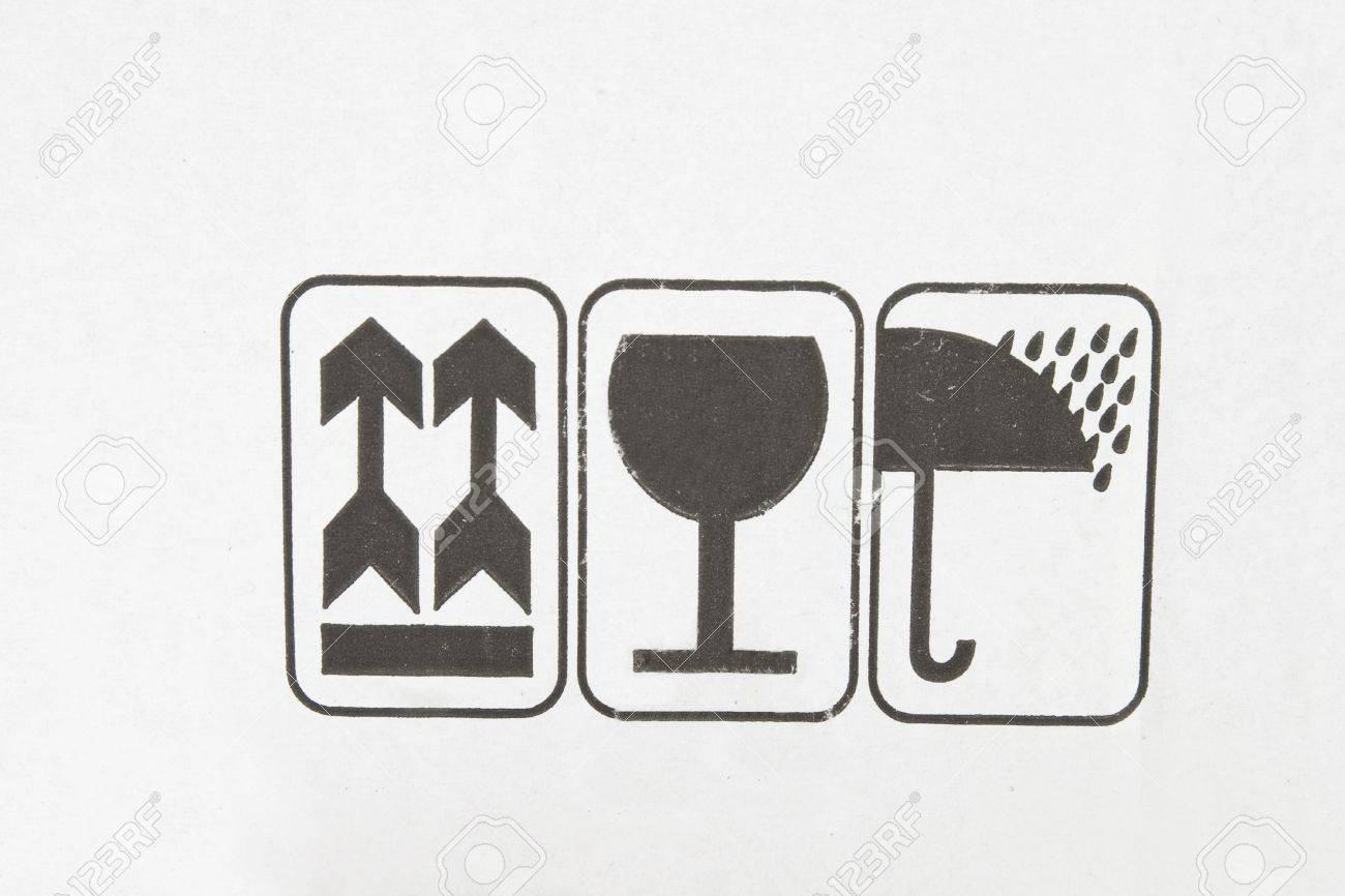 different symbols from cardboard box, information labels Stock Photo - 7450929