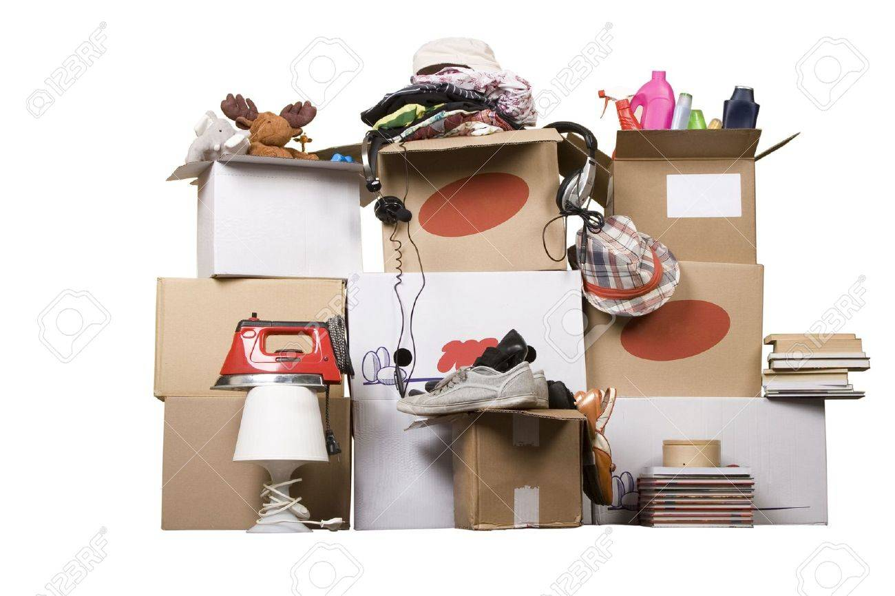 transport cardboard boxes with books and clothes, relocation concept Stock Photo - 7543462