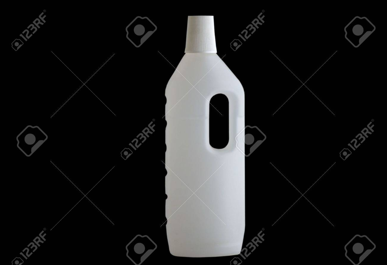 front view of a plastic bottle on black background Stock Photo - 7670623