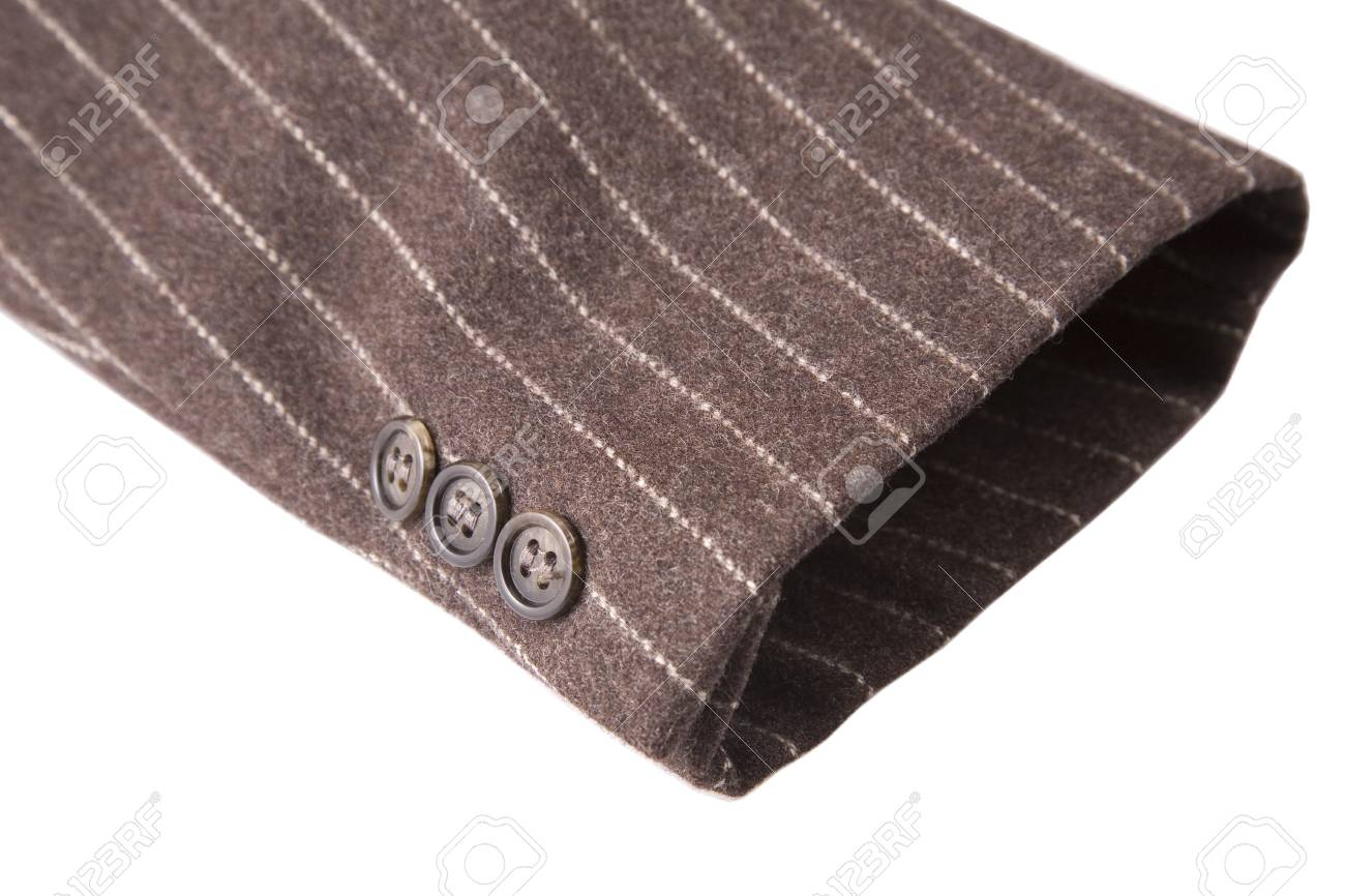 closeup of suit, detail of brown cuff on white background Stock Photo - 7670857