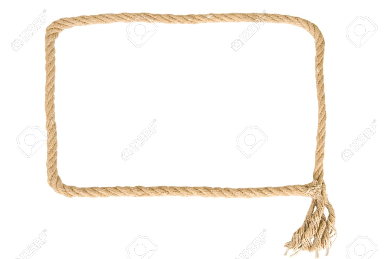 stock photo frame made from rope on white background