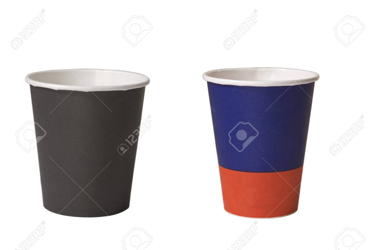 two empty cups of coffee on white background Stock Photo - 9311134