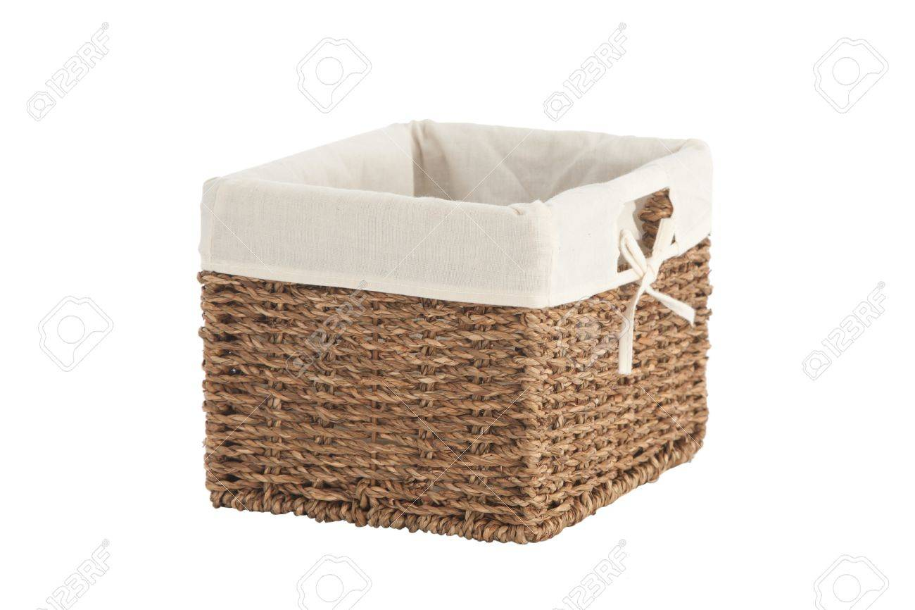 Isolated On White Laundry Basket Made Of Rattan Stock Photo   14709891