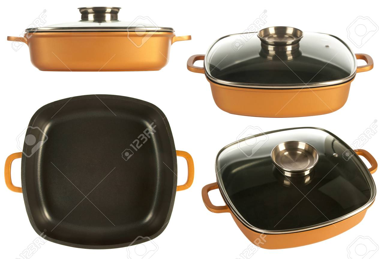 Cookware Cast Iron Cooking Pot Nonstick Pan And Glass Lid Stock Photo Picture And Royalty Free Image Image 16612363