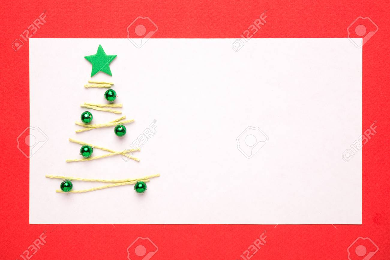 Blank Christmas Card Or Invitation With Christmas Tree On Red