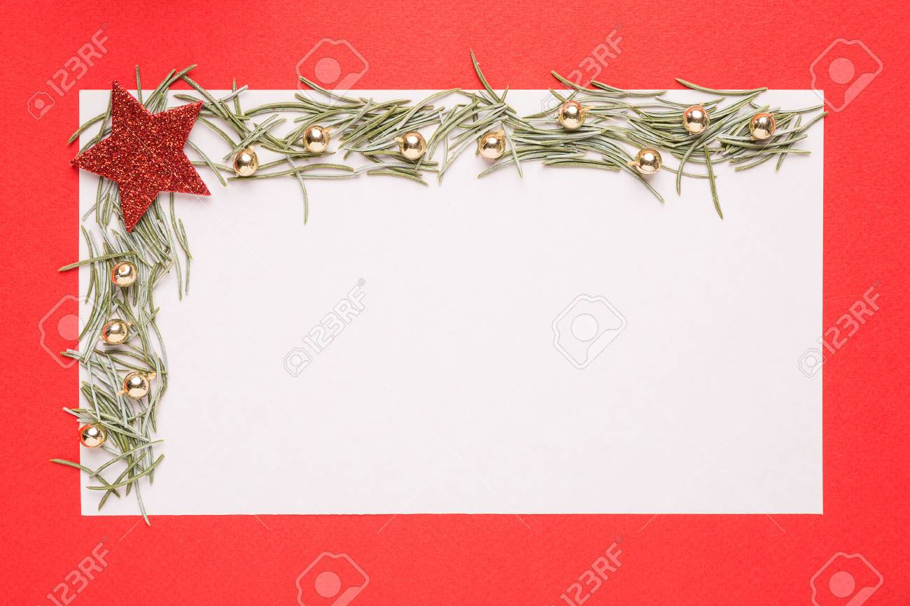 Blank Christmas Card Or Invitation With Fir On Red Background Stock ...