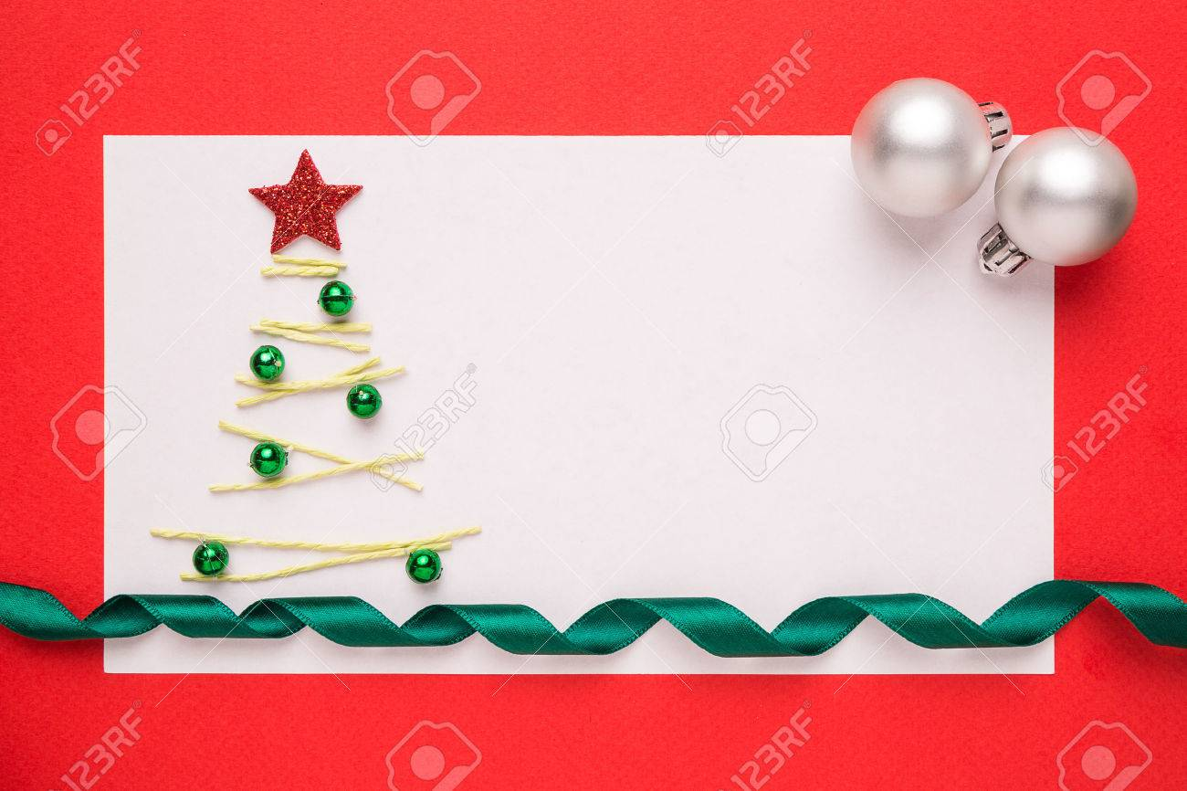 Blank Christmas Card Or Invitation With Christmas Tree On Red ...