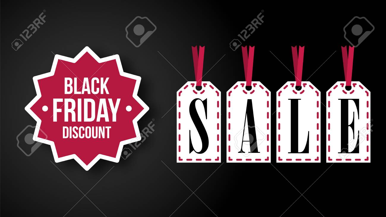 Banque dimages black friday header with sale stickers on the black background vector illustration