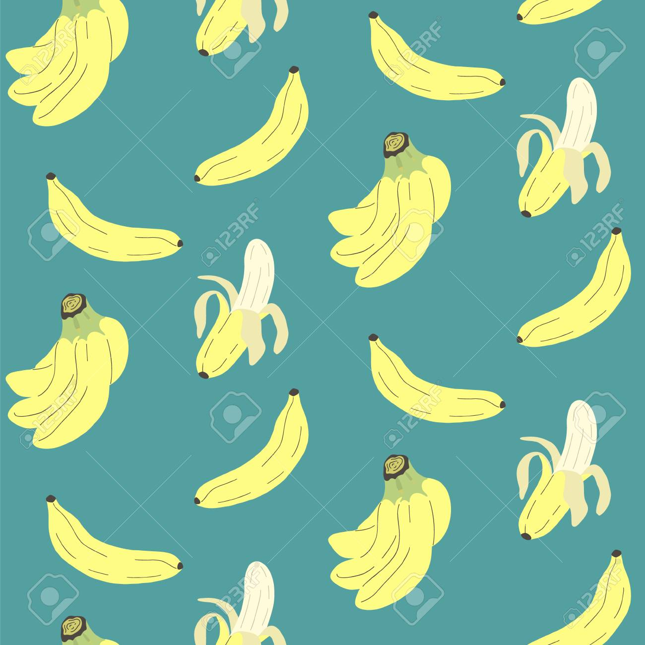 Cute Seamless Pattern With Banana Print For Textile Wrapping