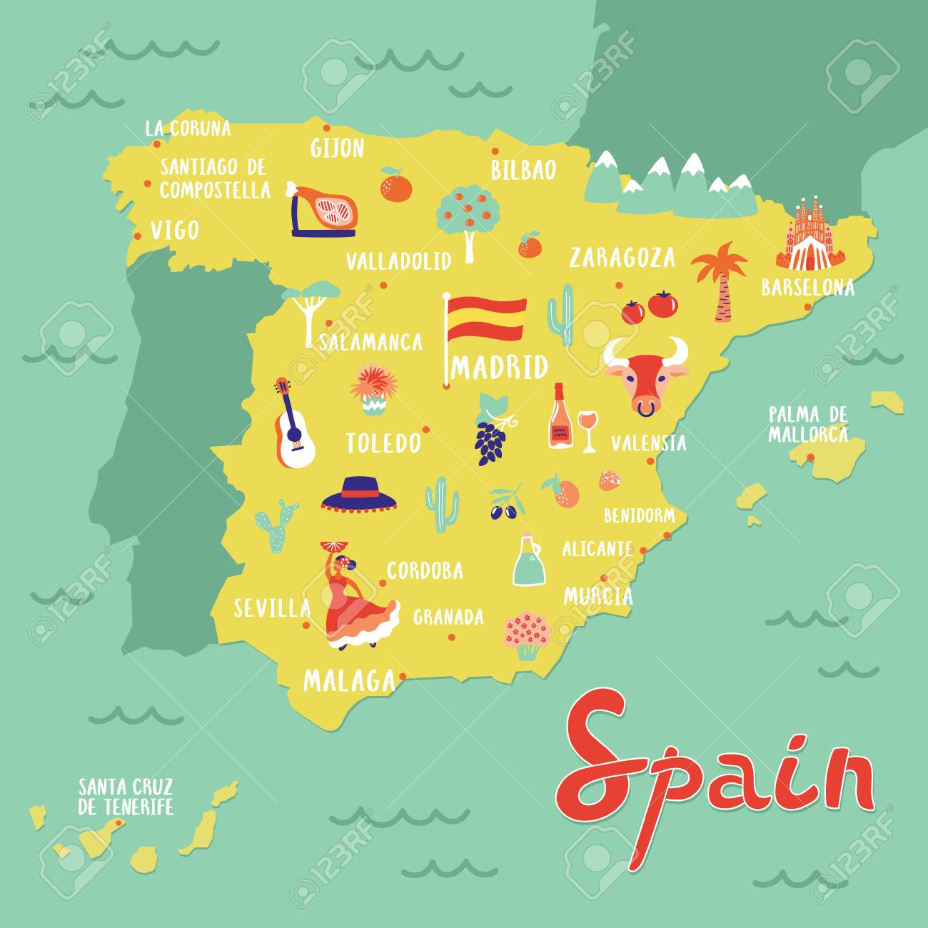Travel Map Of Spain.Vector Map Of Spain With Landmarks People Food And Plants