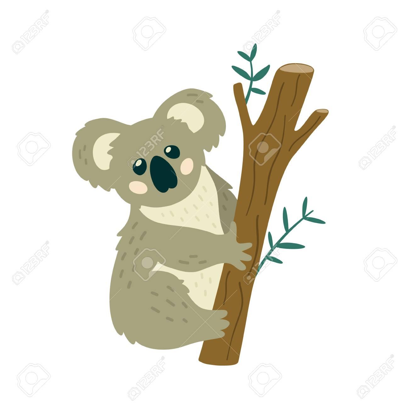 Cute Koala Bear Sitting On The Tree Creative Kids Print Vector