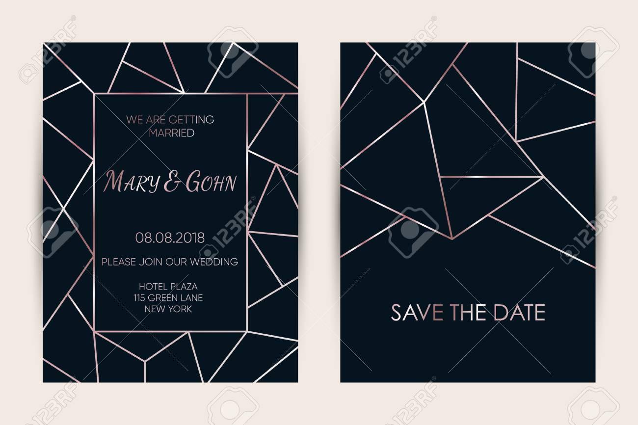Wedding Invitation Card Set Modern Design Template With Rose