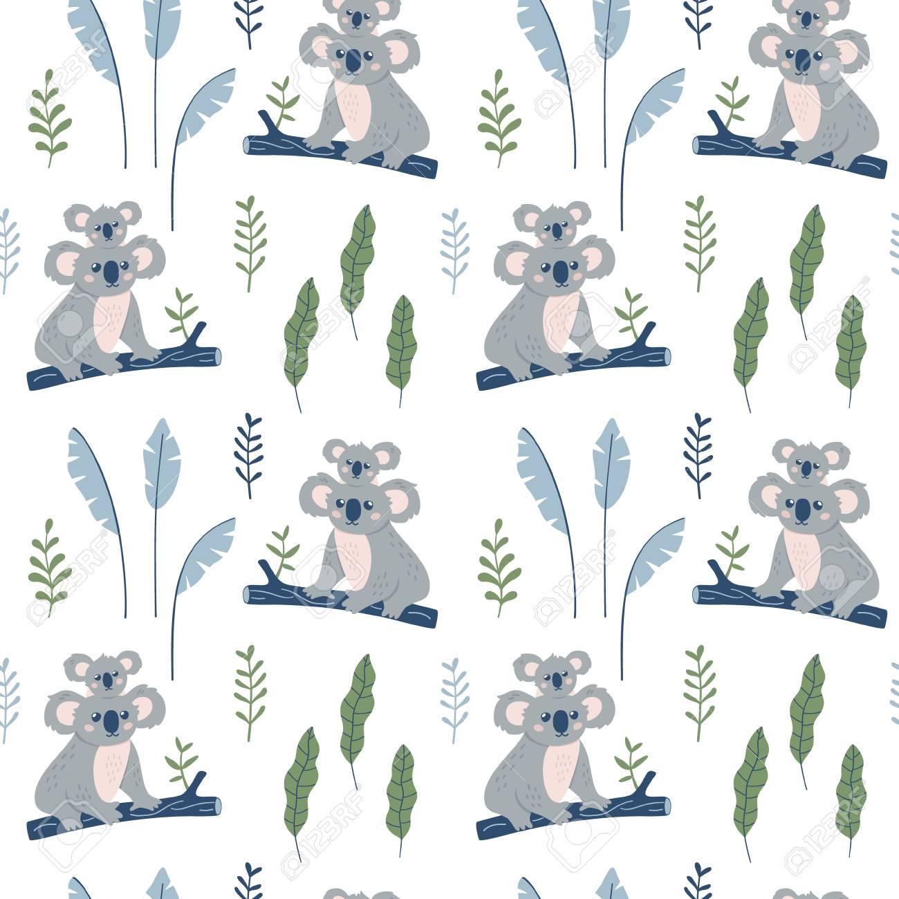 Hand Drawn Seamless Pattern With Koala Mother And Koala Child