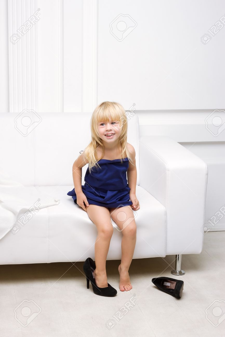 Superb Little Girl 3 Years Old Sitting On A White Sofa In Her Mother Squirreltailoven Fun Painted Chair Ideas Images Squirreltailovenorg