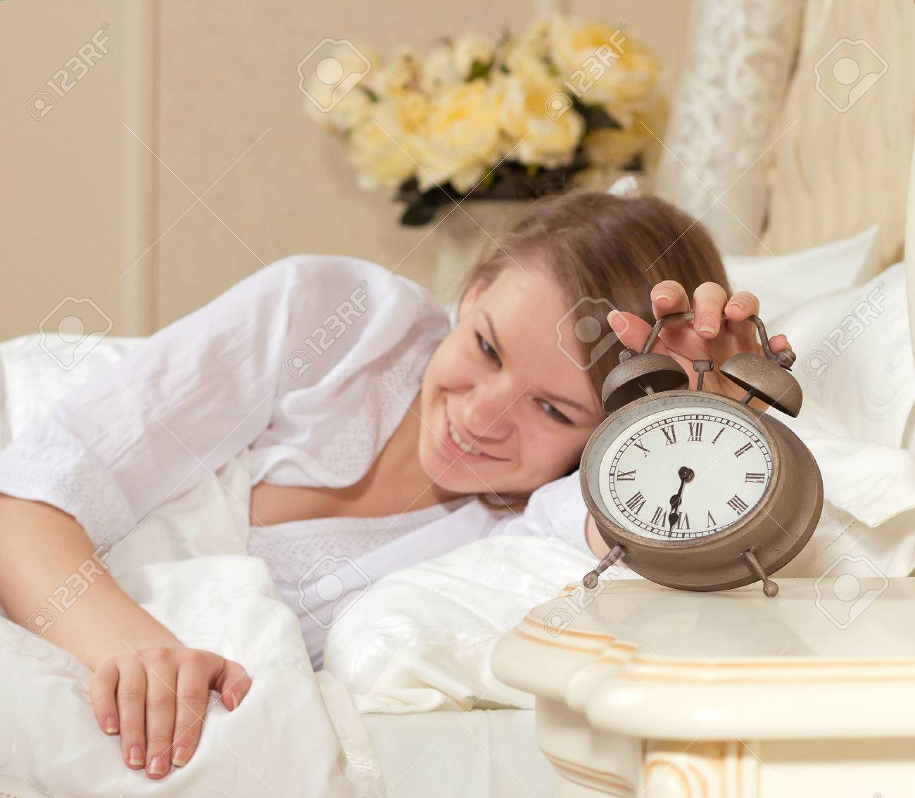 Woman s hand off the alarm Alarm Clock Going Off At 6 30