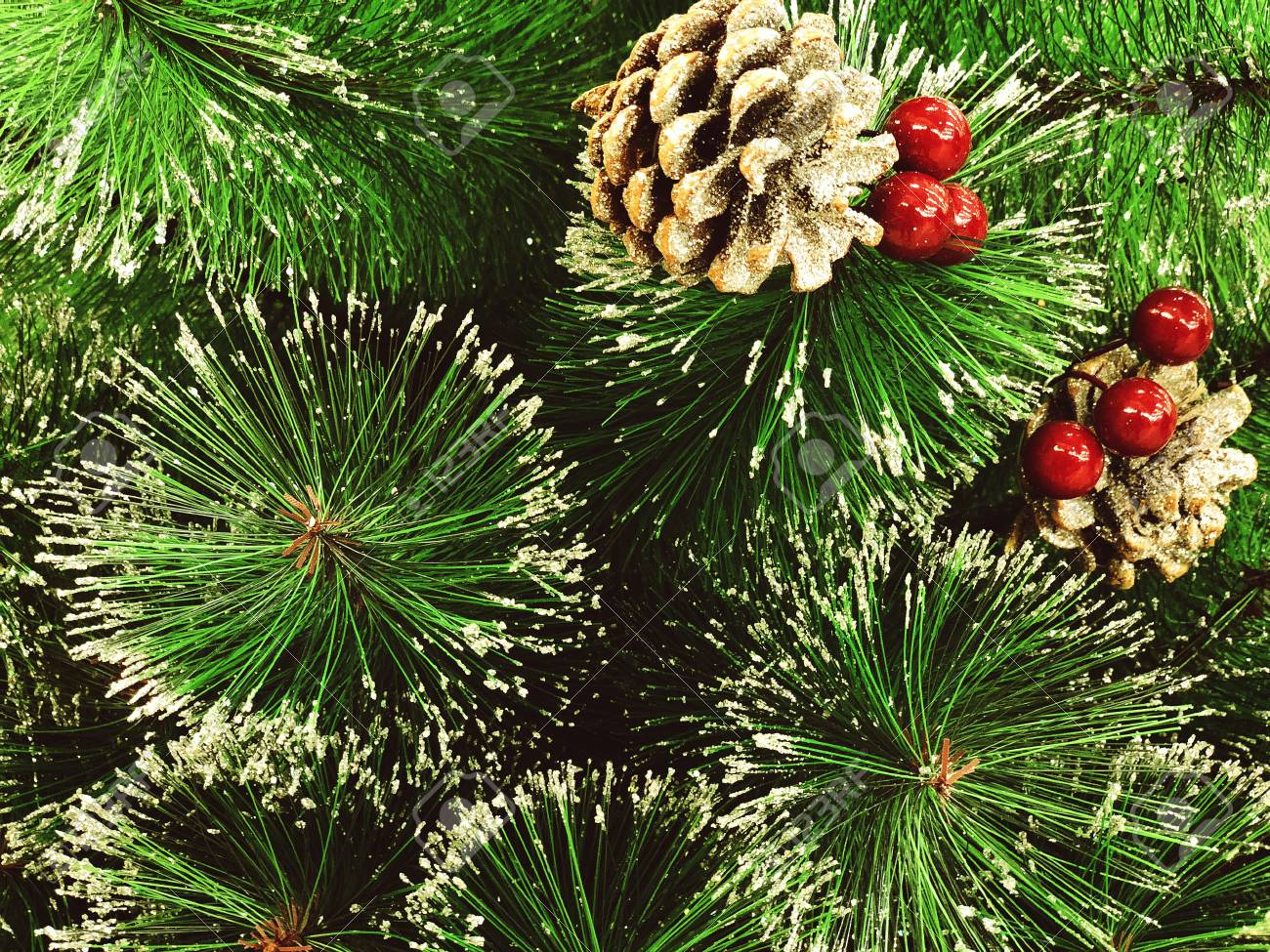 Bright Green Branches Of An Artificial Christmas Tree Close Up Background Stock Photo