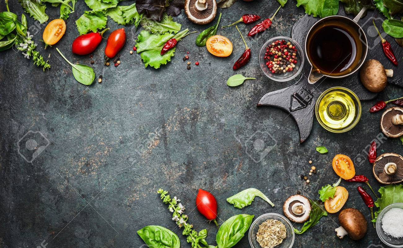 Fresh delicious ingredients for healthy cooking or salad making on rustic background, top view, banner. Diet or vegetarian food concept. Stock Photo - 46966427